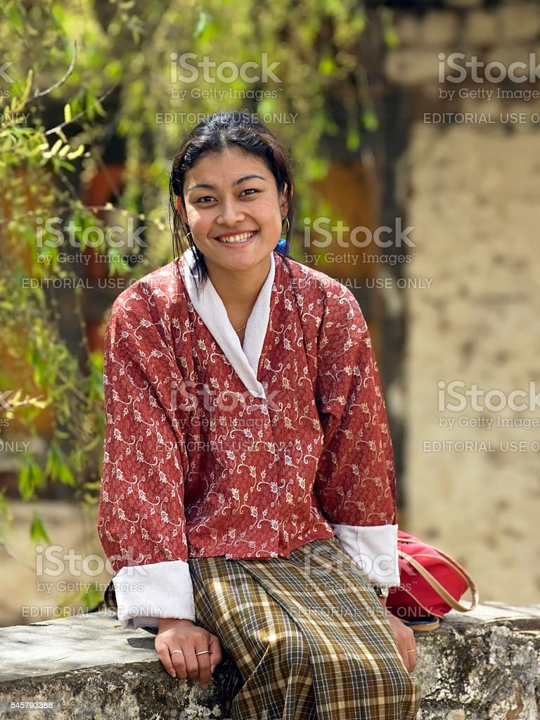 Bhutanese Woman - Paro - Kingdom of Bhutan stock photo