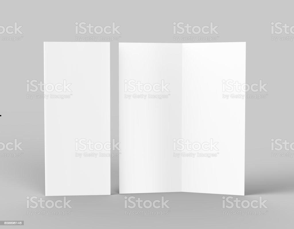 Bi fold or  Vertical half fold brochure mock up isolated on soft gray background. 3D render illustration stock photo