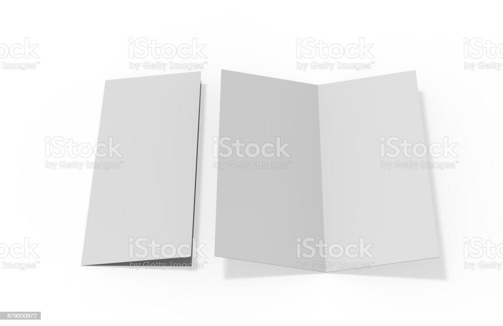 Bi Fold Or Vertical Half Fold Brochure Mock Up Stock Photo