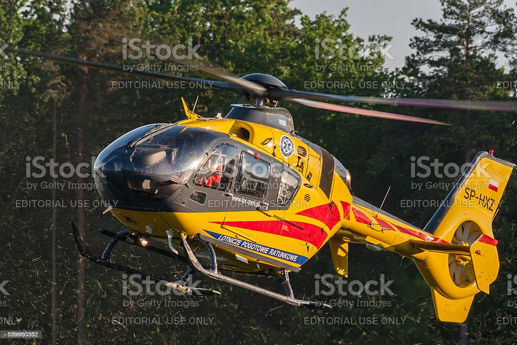 Bialystok , Poland , June 4, 2016: Yellow rescue helicopter stock photo