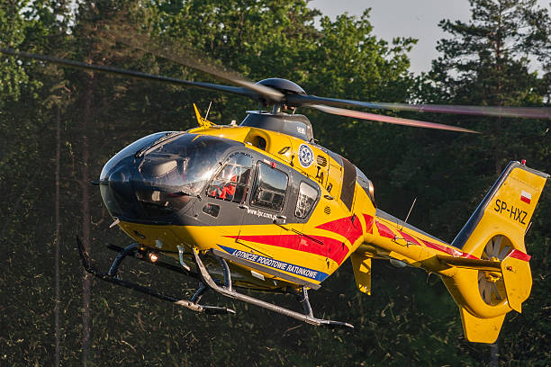Bialystok , Poland , June 4, 2016: Yellow rescue helicopter