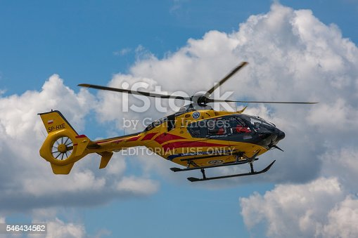 istock Bialystok , Poland , June 4, 2016: Yellow rescue helicopter 546434562
