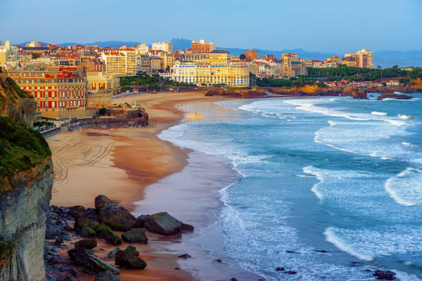 Biarritz city and its famous sand beaches, France stock photo