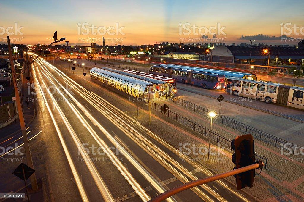 Bi-articulated bus terminal stock photo