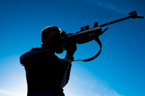 Biathlon competitor during shooting