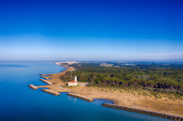 Bibione Lighthouse in the Adriatic Sea stock photo