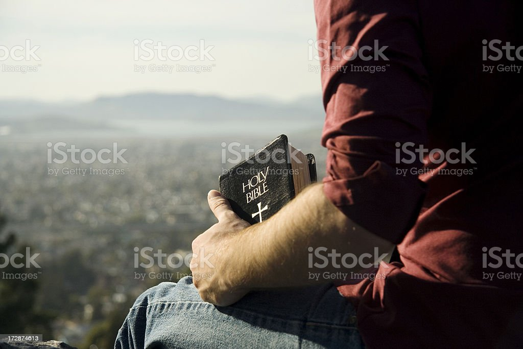 Bible and a view royalty-free stock photo