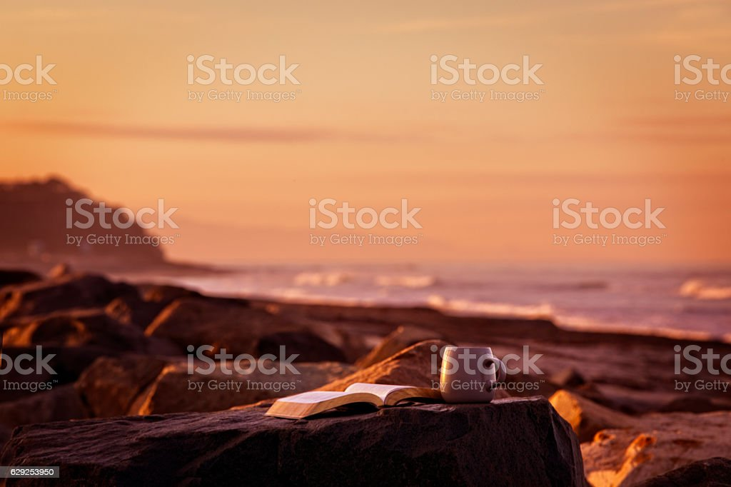 Bible and Coffee at Sunrise in Encinitas California stock photo