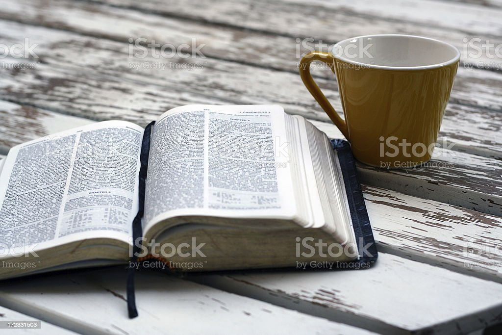 Bible and coffee royalty-free stock photo