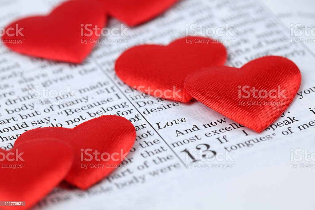 Bible and hearts stock photo