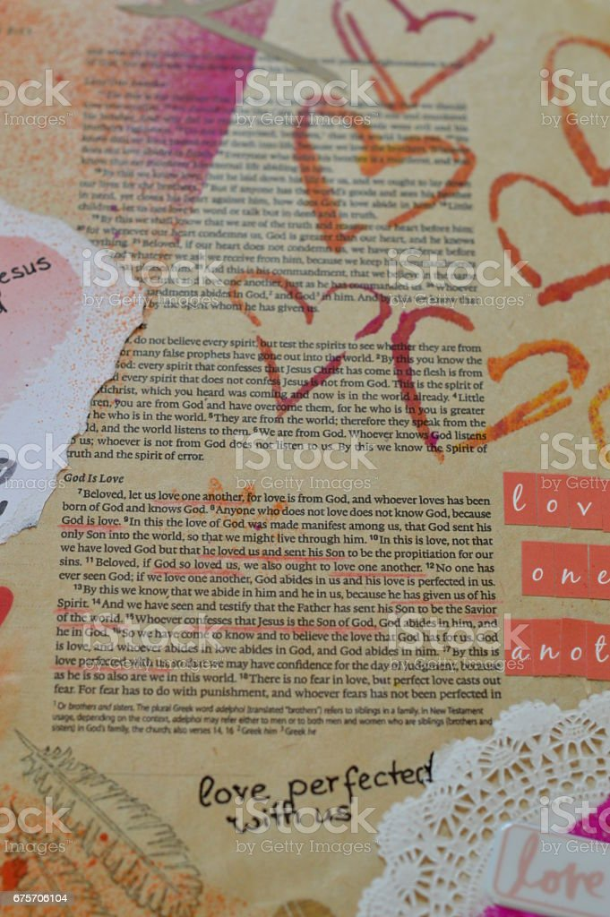 Bible art journaling about God is love stock photo