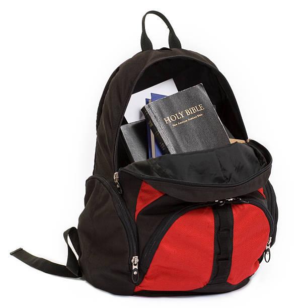 Bible Backpack stock photo