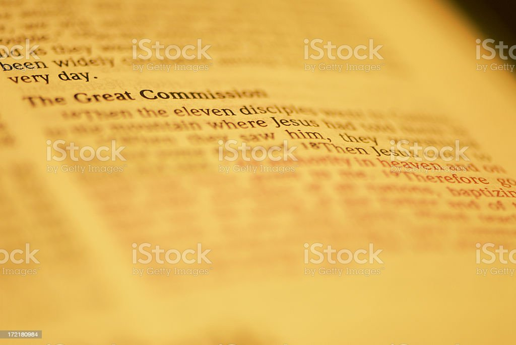 Bible Closeups - Great Commission royalty-free stock photo