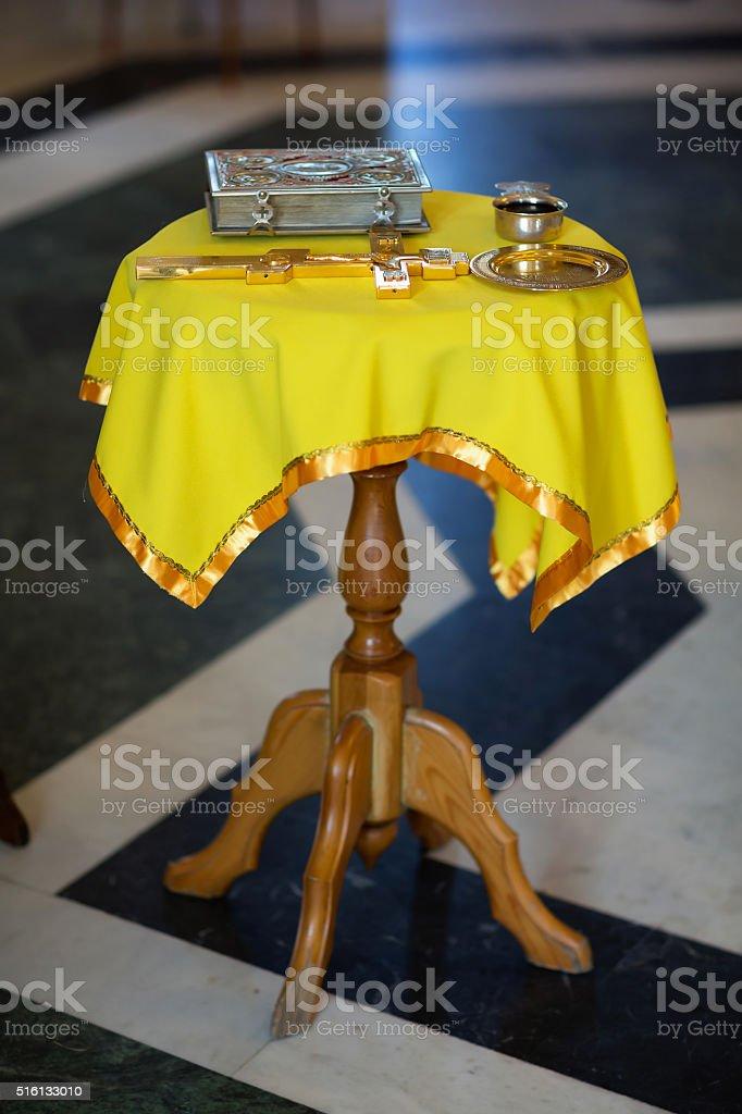 Bible, cross, table, wedding, Christian. stock photo