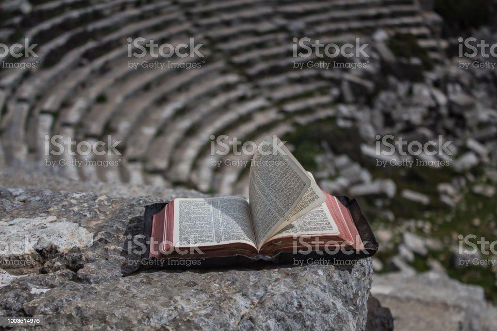 bible in amphitheatre stock photo