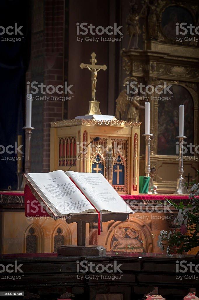 Bible in the church stock photo