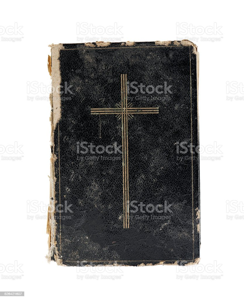Bible isolated on white. Top view. stock photo