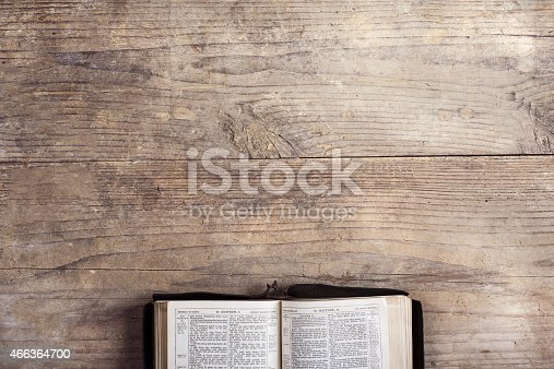 istock Bible on a wooden desk 466364700