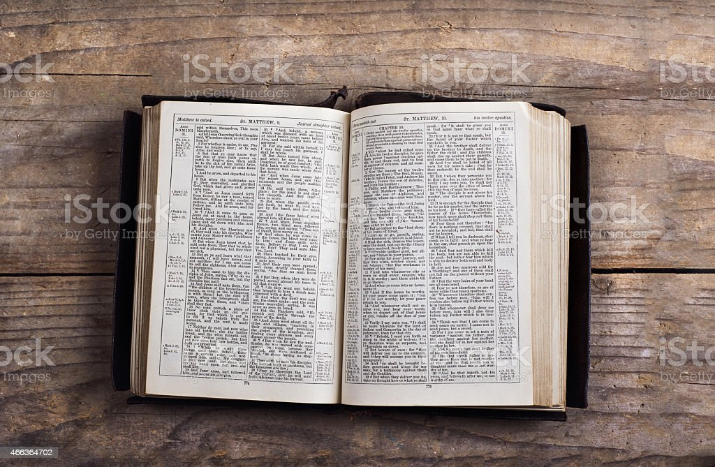 Bible on a wooden desk royalty-free stock photo
