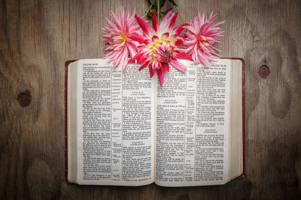 Bible open to Psalm 23 in KJV, King James version with dahlia flowers on wood background stock photo