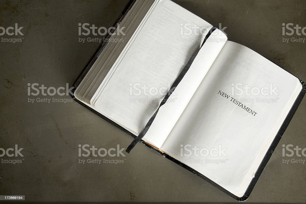 Bible Open to the New Testament stock photo