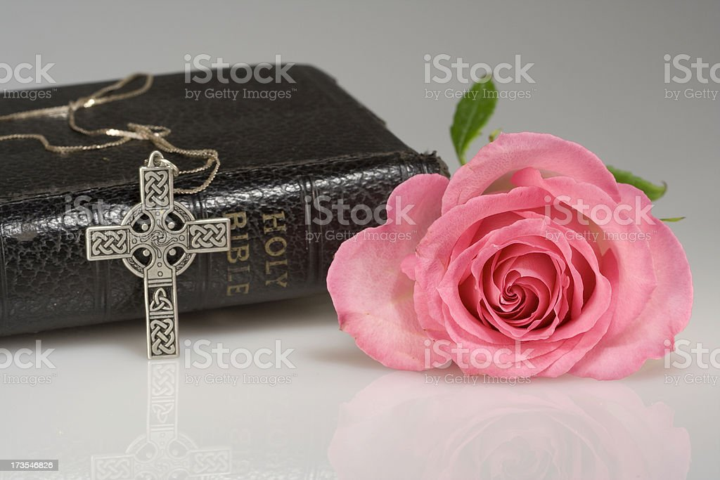 Bible, rose and cross royalty-free stock photo