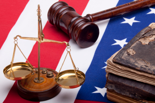 Bible Scales Of Justice And American Flag On White Background Stock Photo - Download Image Now