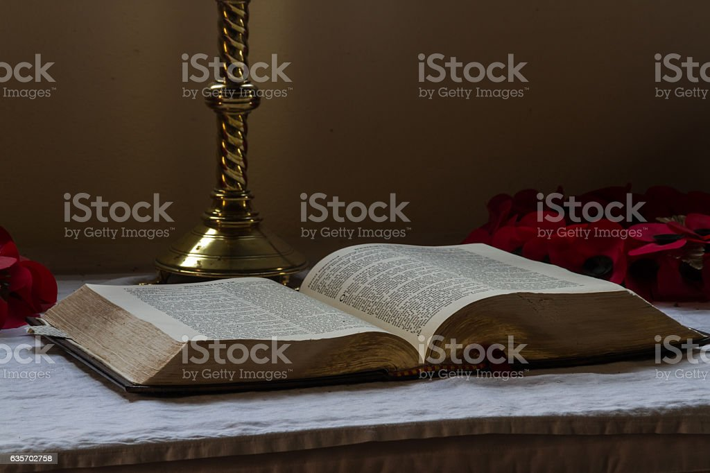 Bible set out on altar royalty-free stock photo