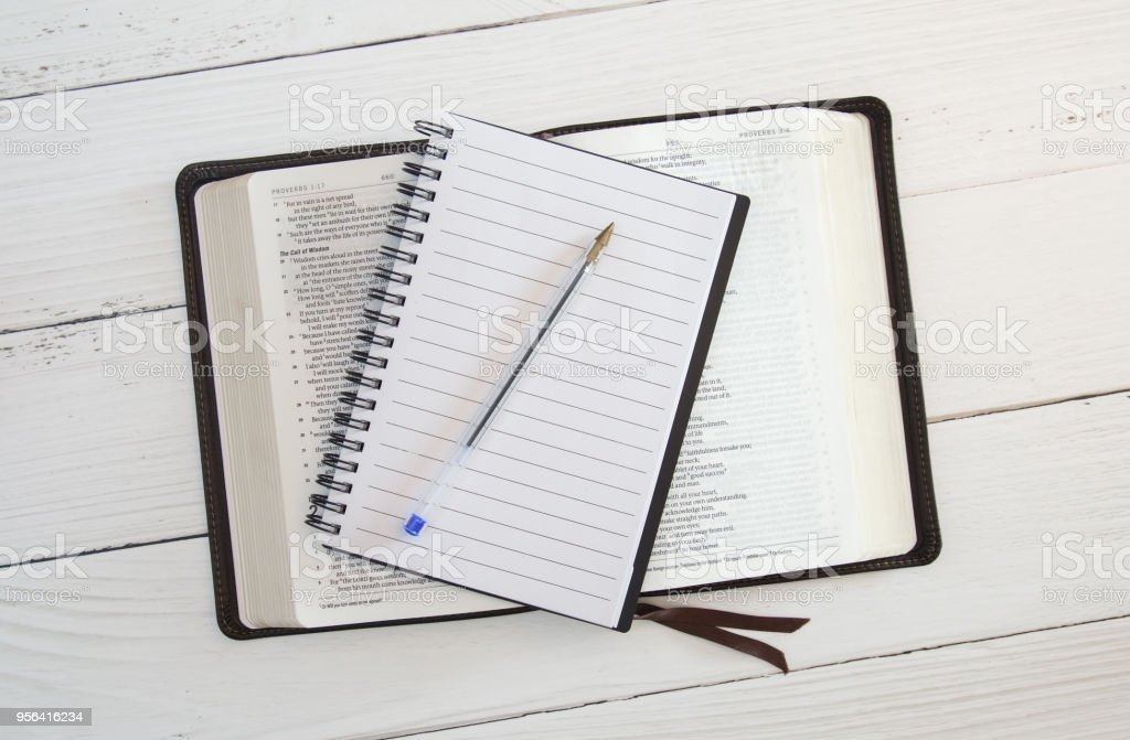 Bible Study on a White Wood Table stock photo