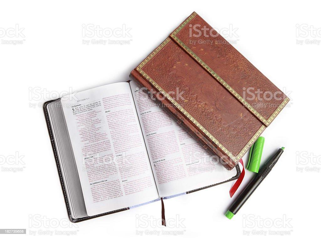 \'Bible Study Tools - bible, notebook, highlighter\'