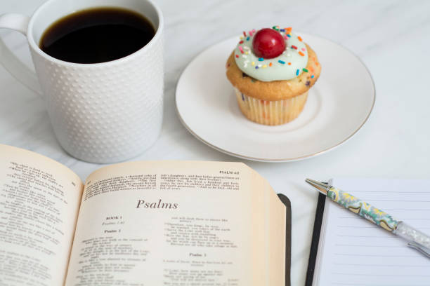 bible study with cupcakes and coffee stock photo