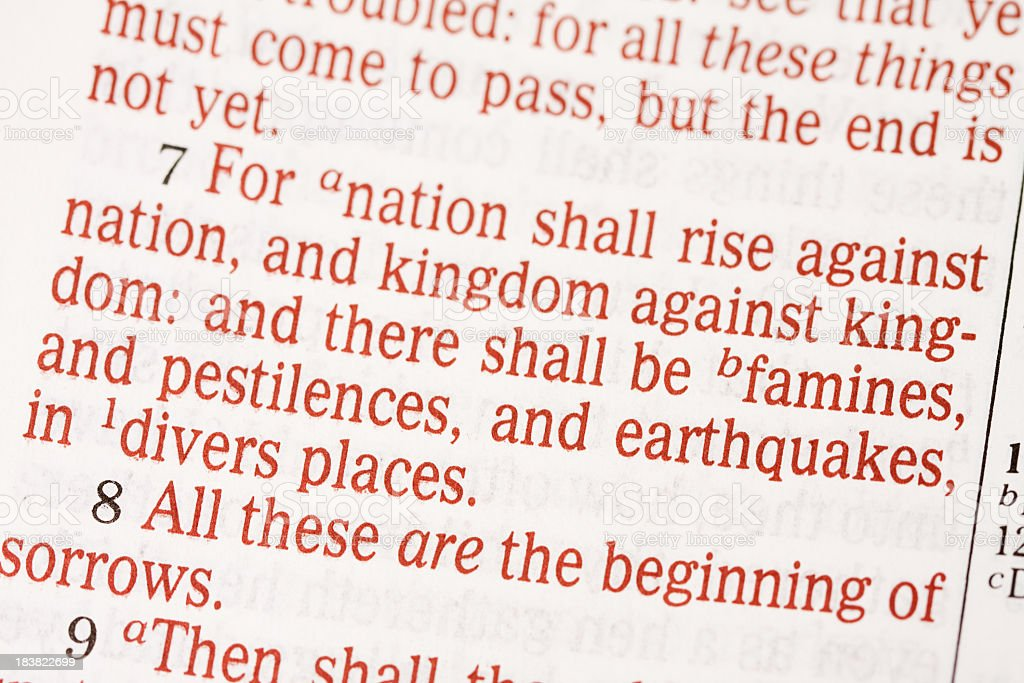 Bible Text from Matthew Chapter 24 stock photo