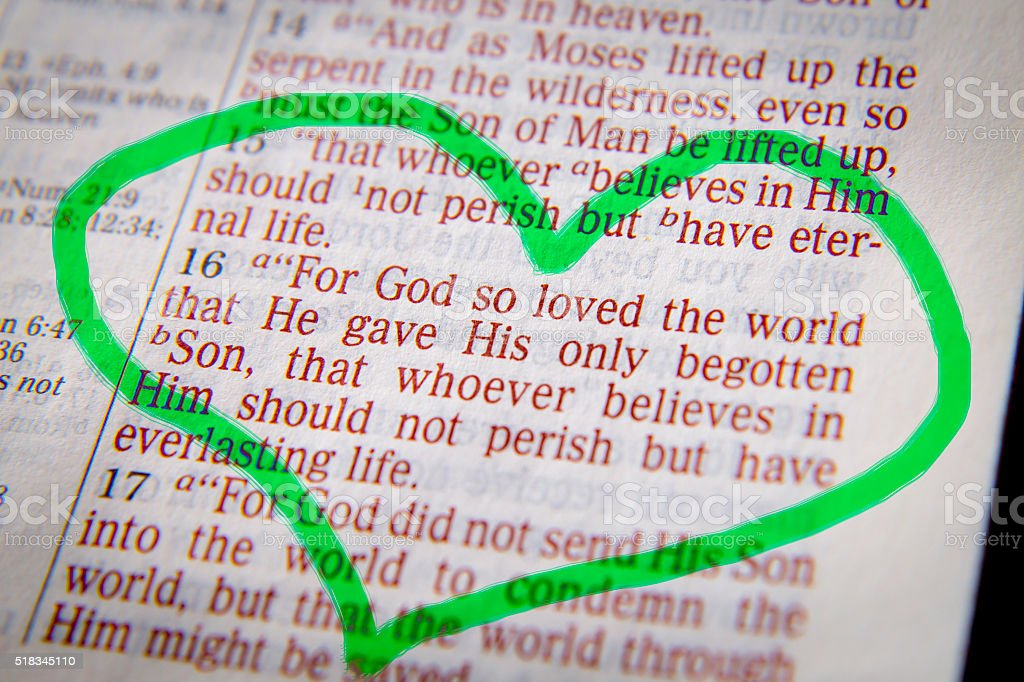 Bible text -  God so loved the world stock photo