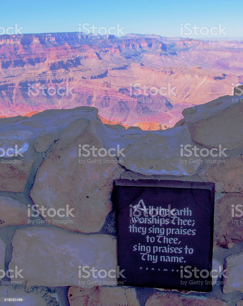 Bible Verse Plaque And Grand Canyon Stock Photo - Download