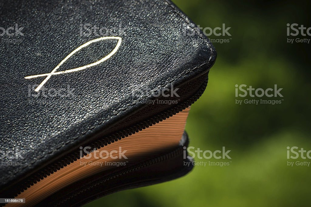 Bible with a christian symbol royalty-free stock photo