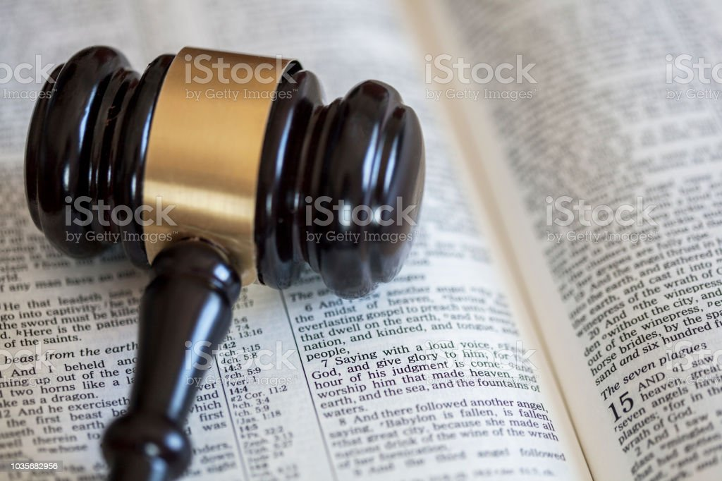 Bible with  gavel stock photo