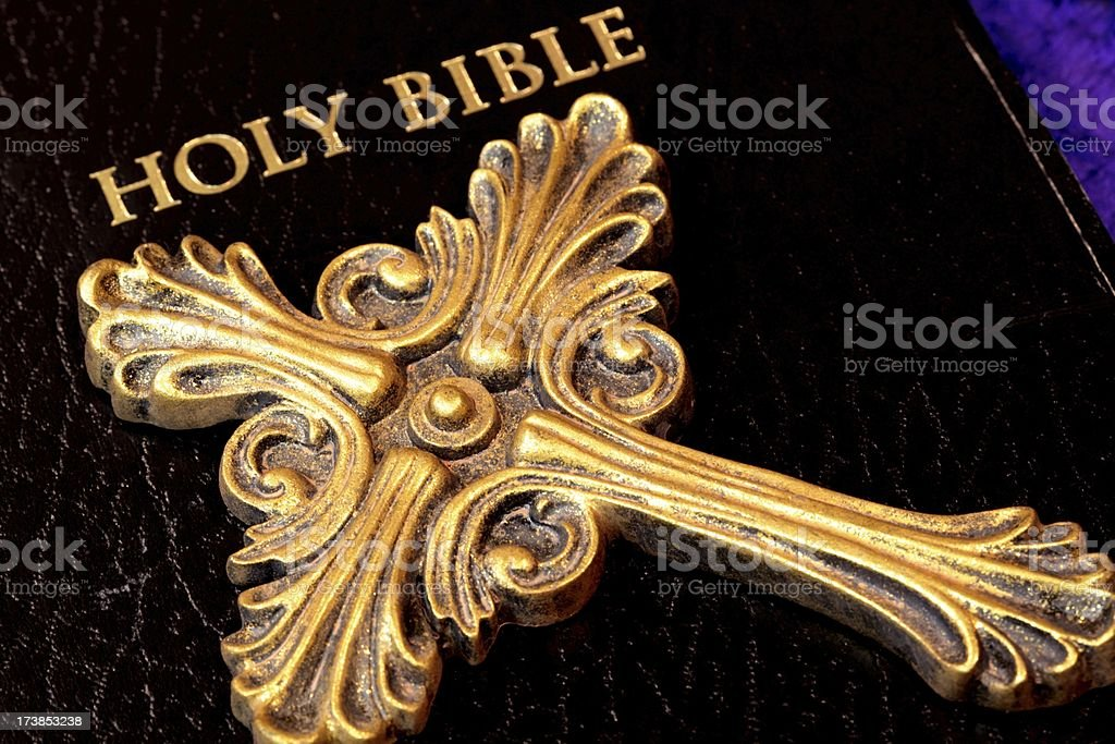 Bible with Gold Cross royalty-free stock photo
