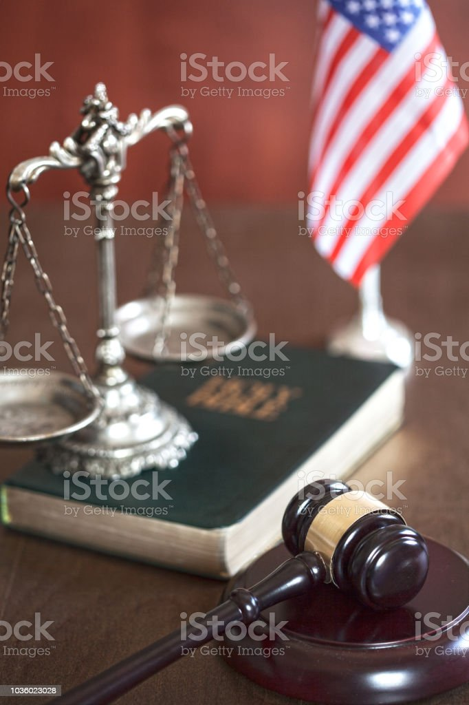 Bible with scale  , gavel and flag of USA stock photo