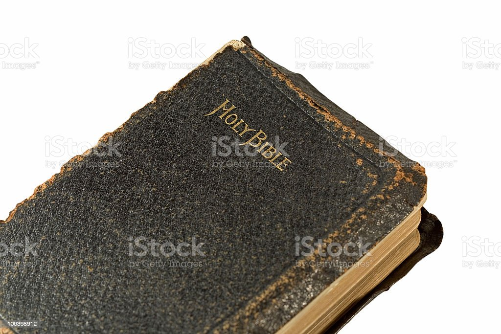Bible with very worn leather royalty-free stock photo