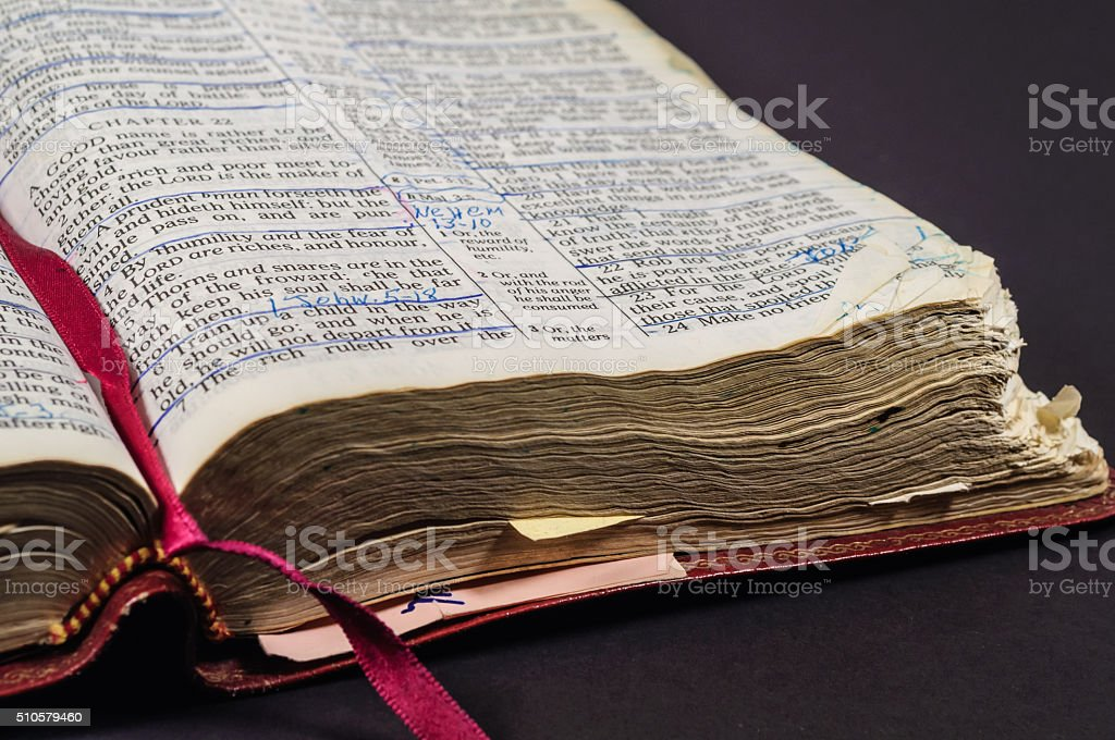 Bible Worn From Reading stock photo