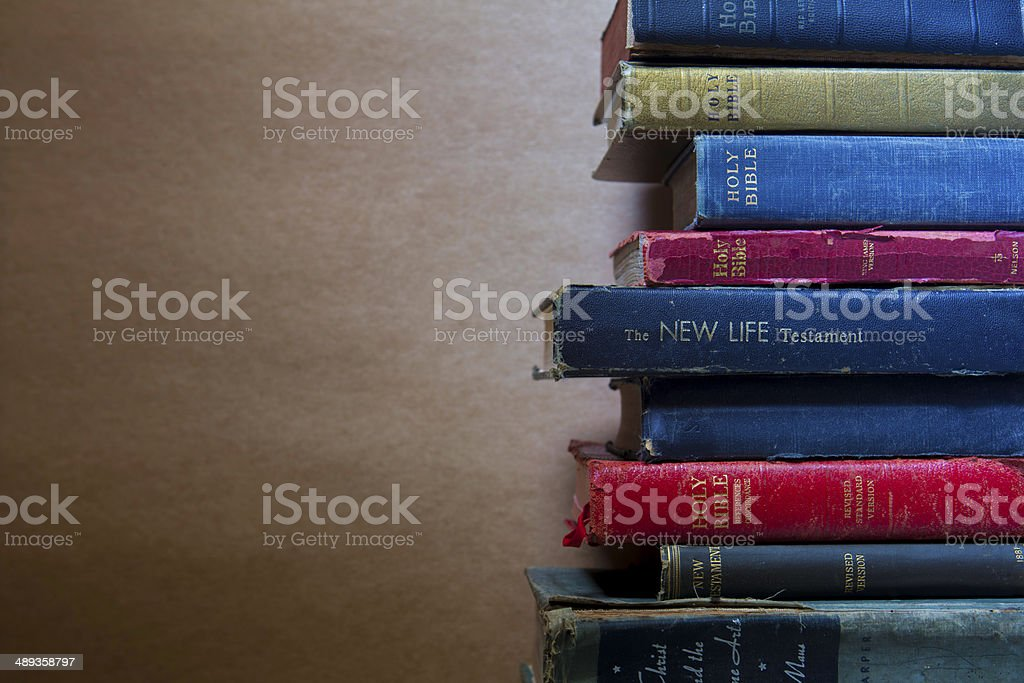 Bibles brown background stock photo