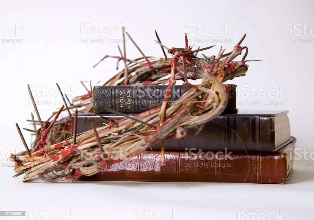 Bibles with Crown of Thorns royalty-free stock photo