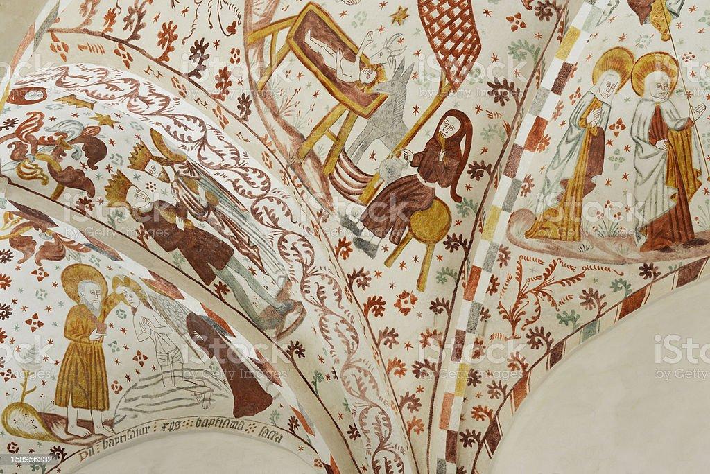 Biblia pauperum style - Frescos in Danish Chuch stock photo