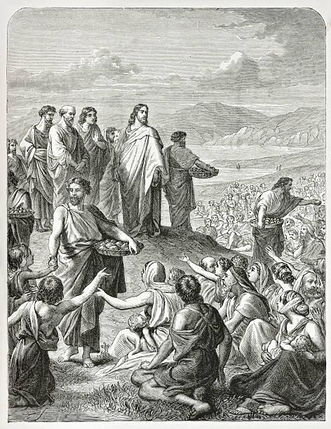 biblical engraving (1873) of jesus feeding the multitude (gospel miracle) - 大比大 聖經人物 個照片及圖片檔