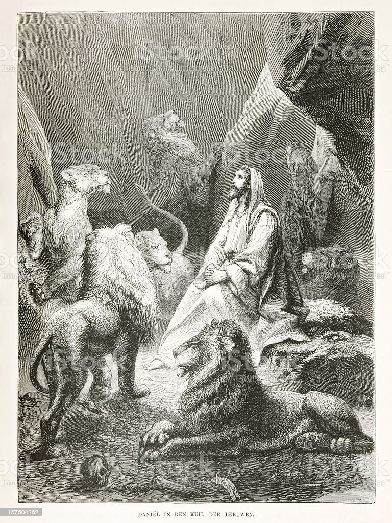 Biblical engraving of protagonist Daniel in the lions' den (1873) stock photo