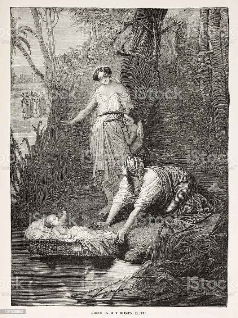 Biblical engraving, the finding of Moses by Pharaoh's daughter (1873) stock photo