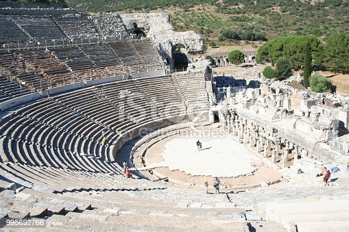 This is the large stadium in Ephesus where people rioted in anger to the message of St. Paul (see Acts 19:23-41). This Roman arena was home to gladiator fights and other Roman entertainment.
