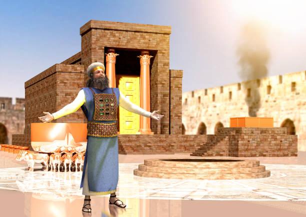biblischer jüdischer priester steht vor dem tempel von könig salomo - engelportal stock-fotos und bilder