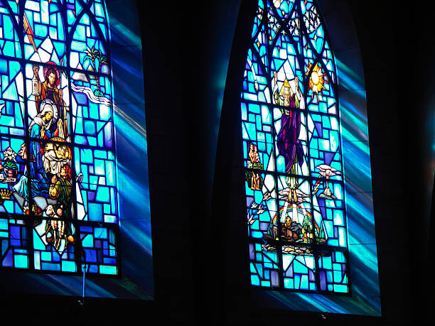 Biblical scenes from Saint-Paul church in Princeton, NJ. stock photo