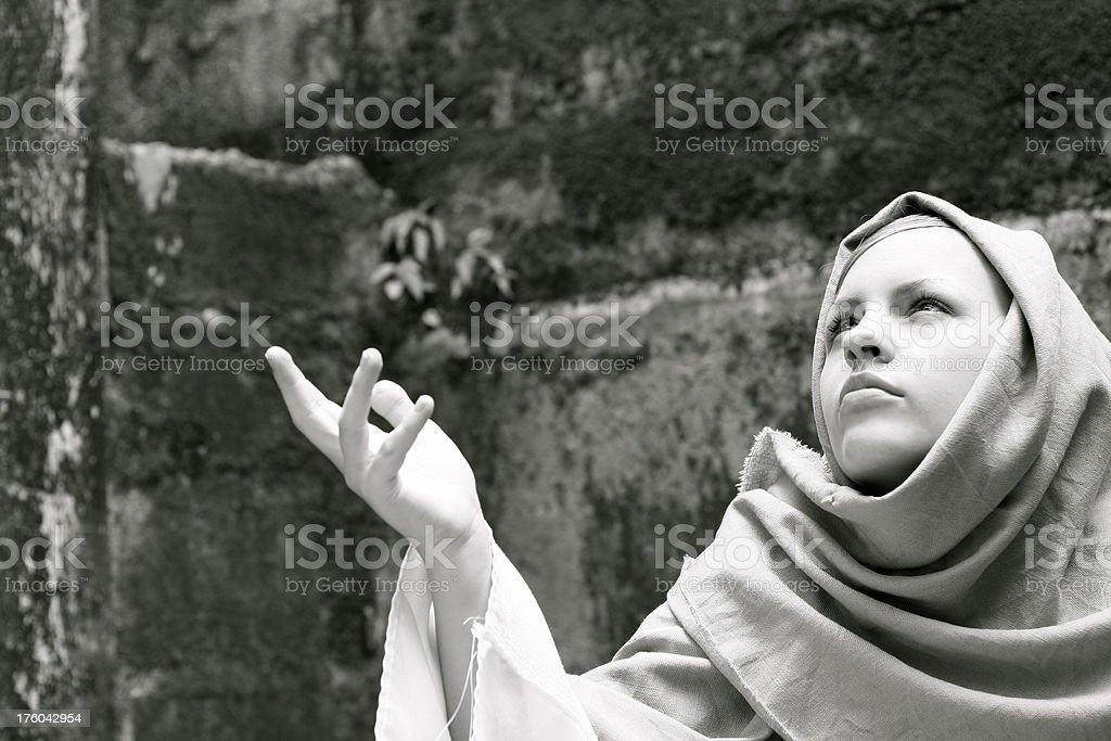 Biblical Woman with Raised Hand stock photo